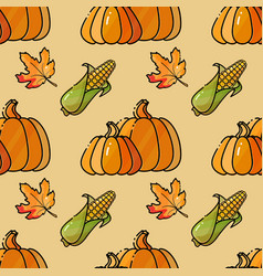 seamless pattern with corn pumkin and leaves vector image