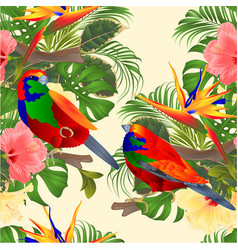 Seamless texture tropical hibiscus and vector