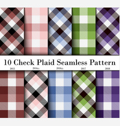 Set 10 check plaid seamless pattern in brown vector