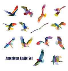 Set colorful american eagles vector