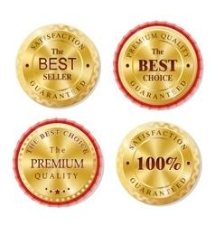 Set of golden metal badges vector image