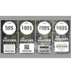 Set of modern gift voucher templates Golden vector image
