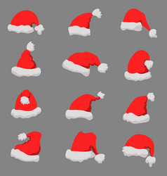 set of santa claus hats christmas theme design vector image