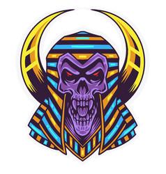 skull pharaoh head mascot logo vector image