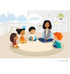 Smiling kindergarten teacher and children sitting vector