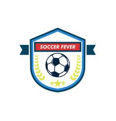 soccer fever elegant shield footbal club emblem vector image