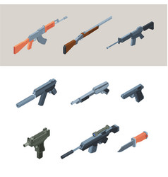 soldiers guns isometric weapons automatic arms vector image