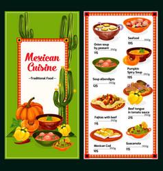 Spicy mexican cuisine menu vector