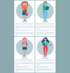 student girls set of posters cartoon schoolgirls vector image