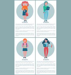 student girls set posters cartoon schoolgirls vector image