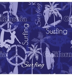 Surfing California Blue Seamless Pattern vector image