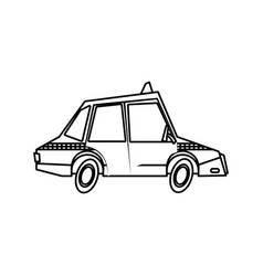 taxi car transport public comic line vector image