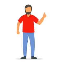 Thumb up man icon flat style vector