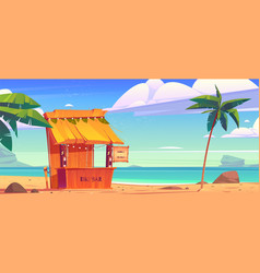 tiki bar with tribal masks on summer beach vector image