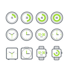 timers set variety clock icons vector image