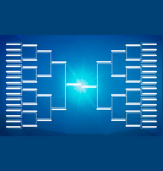 Tournament bracket template for 32 teams on blue vector