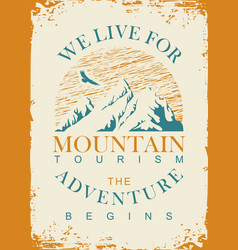 Travel banner with mountains and flying eagle vector