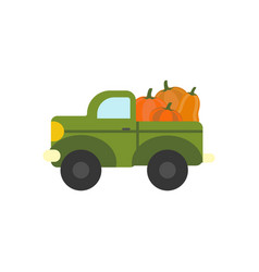 Truck with pumpkins vector