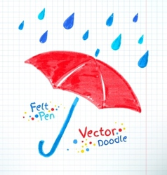 Umbrella and rain drops Felt vector image