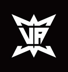 va logo monogram with crown up down side design vector image