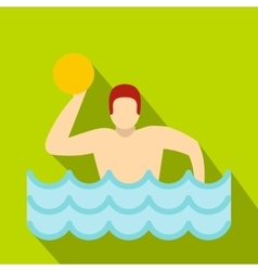 Water polo player in swimming pool icon flat style vector image