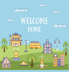 Welcome home banner template summer urban vector