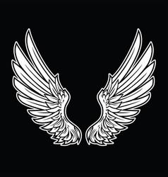 Wings bird feather black white tattoo hawk angel vector