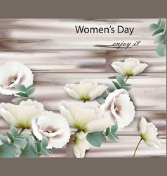 Women day card with white flowers wood vector