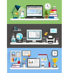 workplace with computer backgrounds set vector image