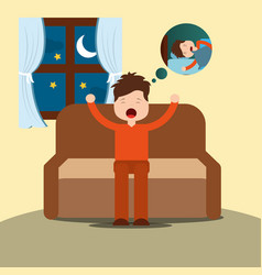 Young man yawning thinking sleep sitting on sofa vector