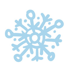 blue snowflake hand drawn isolated icon vector image