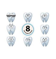 cartoon tooth smiley satisfaction self-confidence vector image