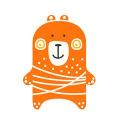 cute orange teddy bear standing funny lovely vector image vector image