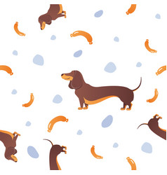 seamless pattern with dogs and sausage vector image vector image