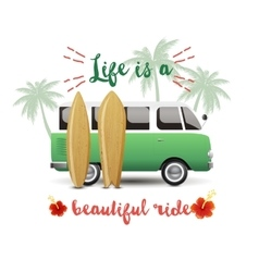 Summer time background with hippie van vector image