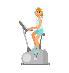 Woman working out on exercise bike colorful vector