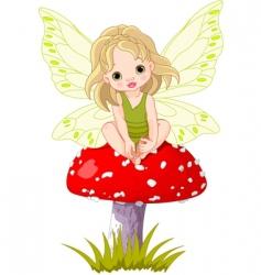 baby fairy on the mushroom vector image vector image