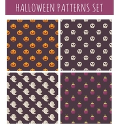 Set of halloween seamless patterns vector image