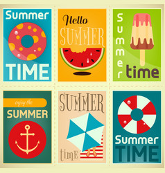 summer time posters set vector image vector image