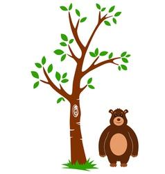 Tree and Bear vector image