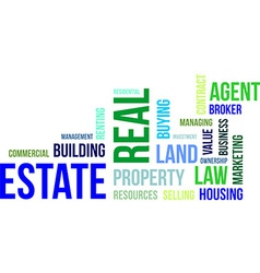 word cloud real estate vector image vector image
