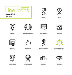 awards - line design icons set vector image vector image
