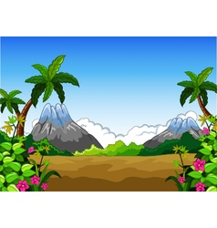 Landscape with mountain background vector
