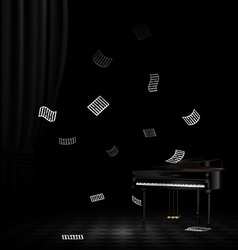 piano and flying note vector image vector image