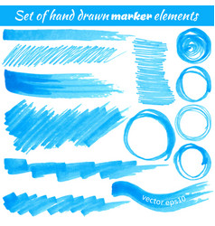 set of hand drawn marker elements vector image