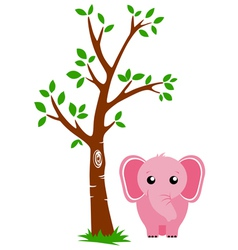 Tree and Elephant vector image vector image