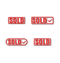 a set of label sold vector image vector image