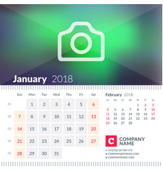 calendar for january 2018 week starts on sunday 2 vector image vector image