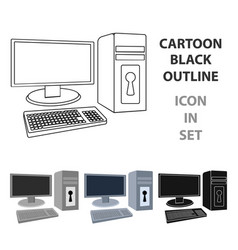 locked computer icon in cartoon style isolated on vector image vector image
