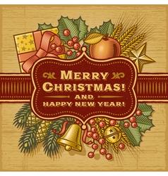 Merry Christmas Retro Card vector image vector image